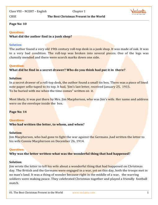 NCERT Solutions for Class 8 English Honeydew Chapter 1 - The