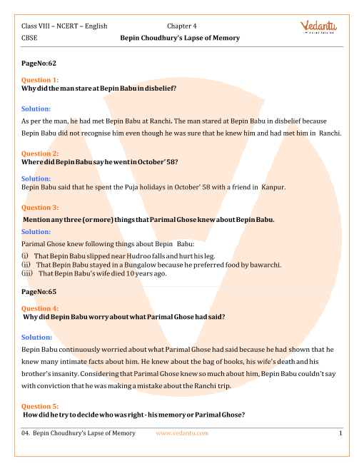 NCERT Solutions for Class 8 English Honeydew Chapter 4