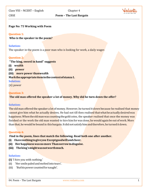 NCERT Solutions for Class 8 English Honeydew Chapter-4 Poem - The