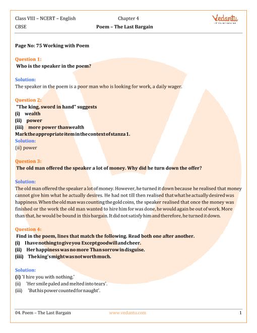 NCERT Solutions Class 8 English Honeydew Chap-4 Poem part-1