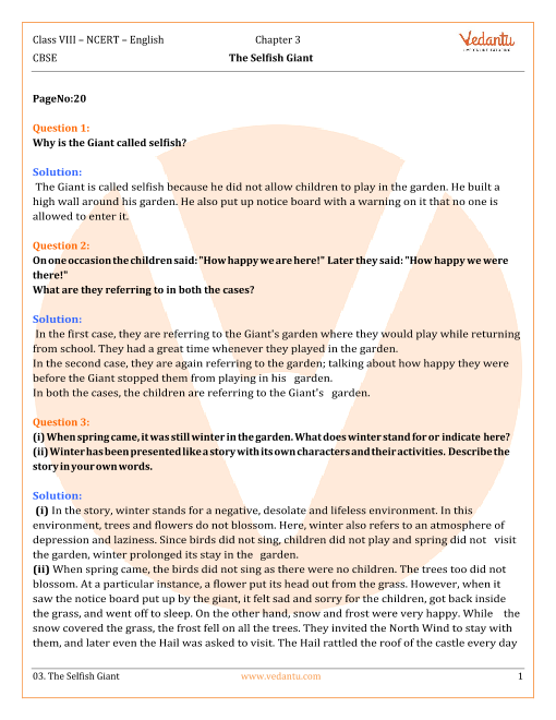 NCERT Solutions for Class 8 English It So Happened Chapter 3 - The