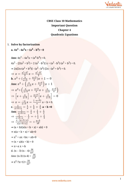 Important Questions for CBSE Class 10 Maths Chapter 4