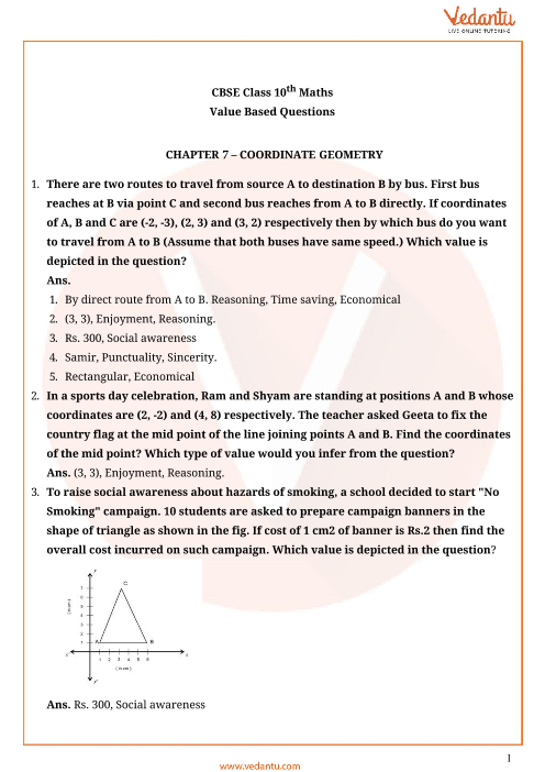 Important Questions for CBSE Class 10 Maths Chapter 7