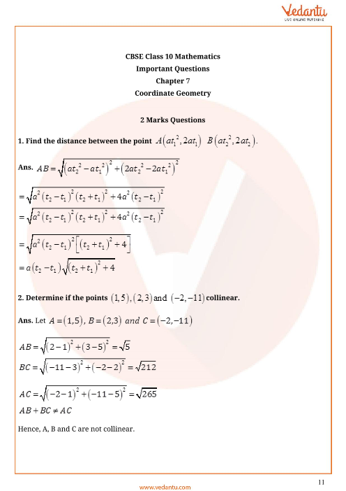 Important Questions for CBSE Class 10 Maths Chapter 7 - Coordinate