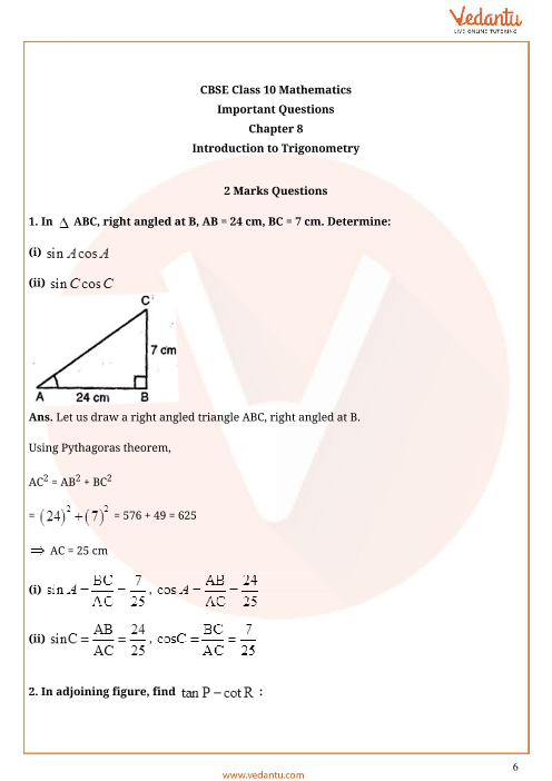 Important Questions for CBSE Class 10 Maths Chapter 8 - Introduction