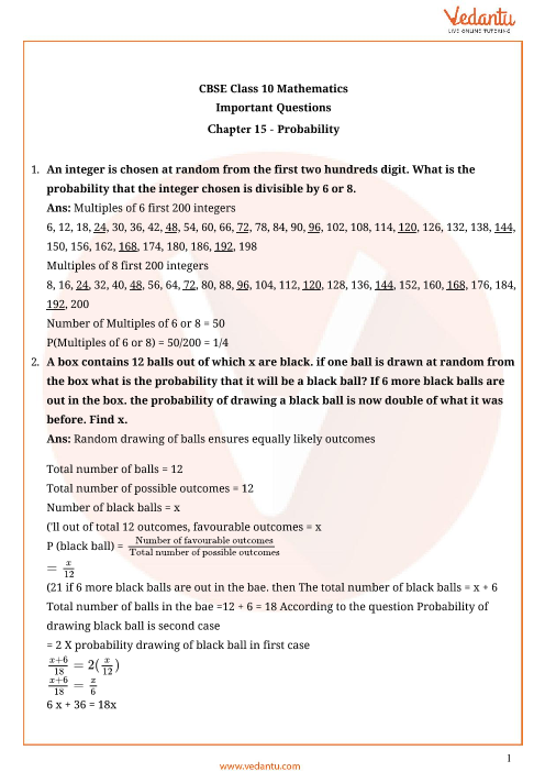 Important Questions for CBSE Class 10 Maths Chapter 15