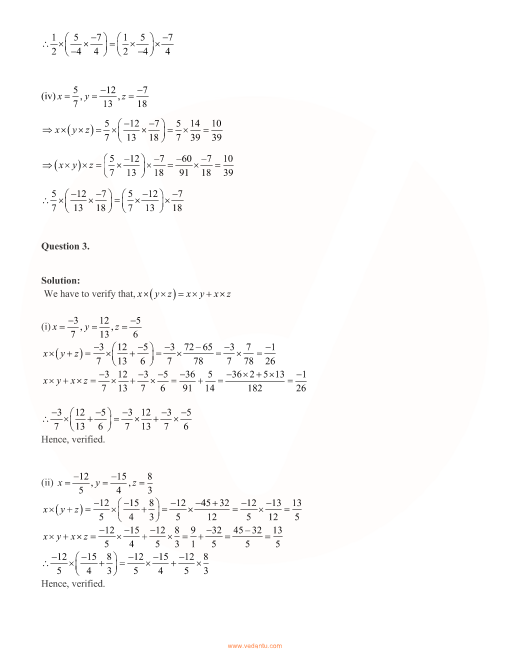 RD Sharma Class 8 Maths Solutions Chapter 1 - Rational Numbers