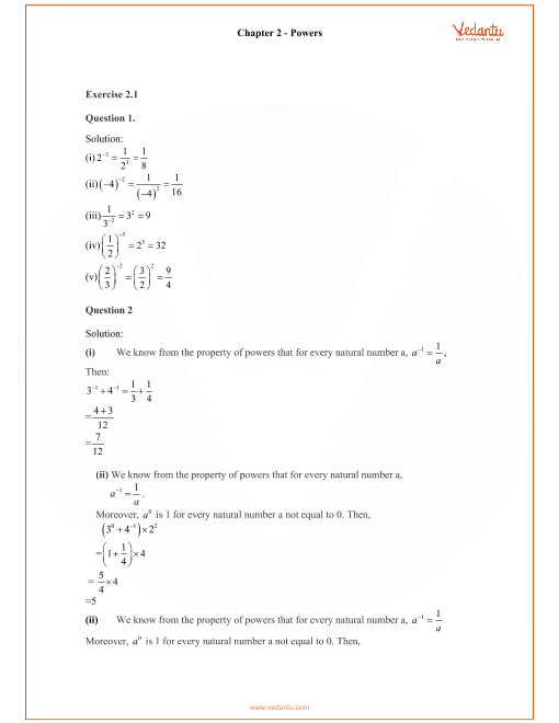 RD Sharma Class 8 Maths Solutions Chapter 2 - Powers