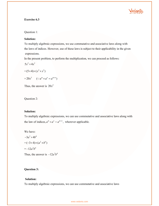 RD Sharma Class 8 Maths Solutions Chapter 6 - Algebraic