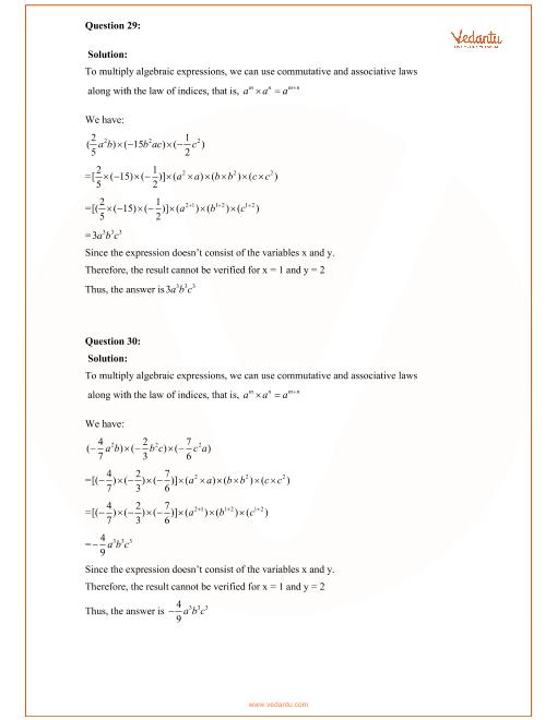 RD Sharma Class 8 Maths Solutions Chapter 6 - Algebraic
