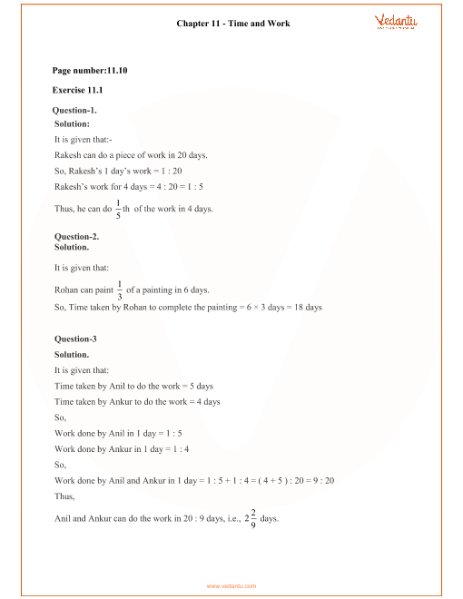 RD Sharma Class 8 Maths Solutions Chapter 11 - Time and Work