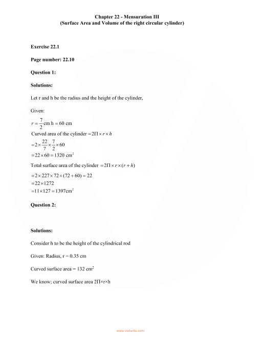 RD Sharma Class 8 Solutions Chapter 22 part-1