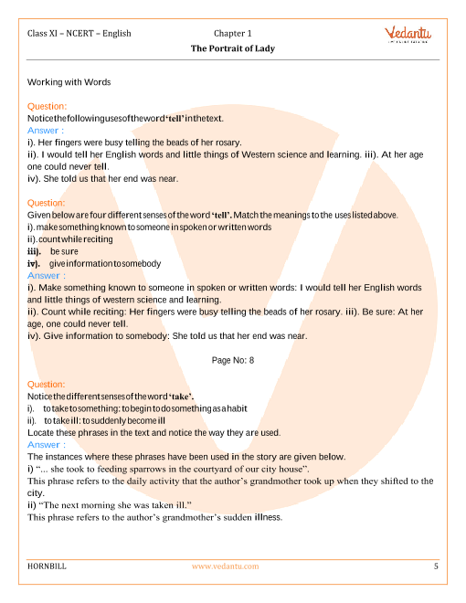 NCERT Solutions for Class 11 English Hornbill Chapter 1 - The