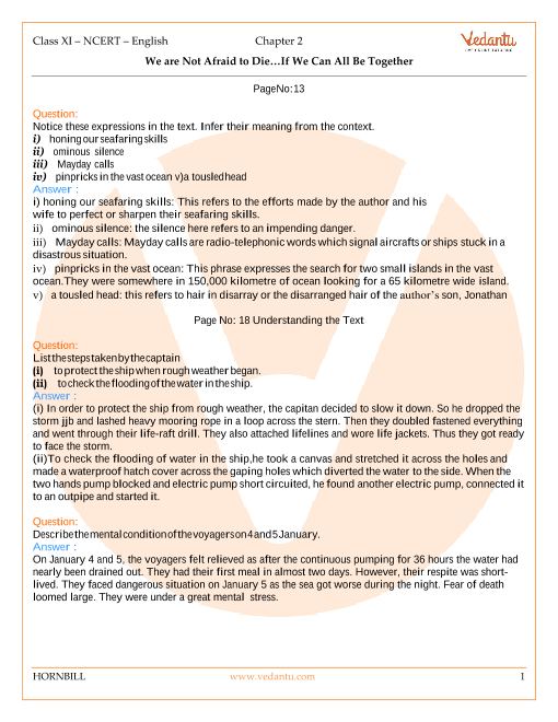 NCERT Solutions for Class 11 English Hornbill Chapter 2 - We're Not