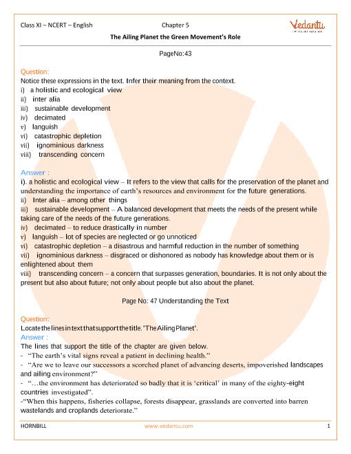 Ncert English Book For Class 11 Hornbill Solutions