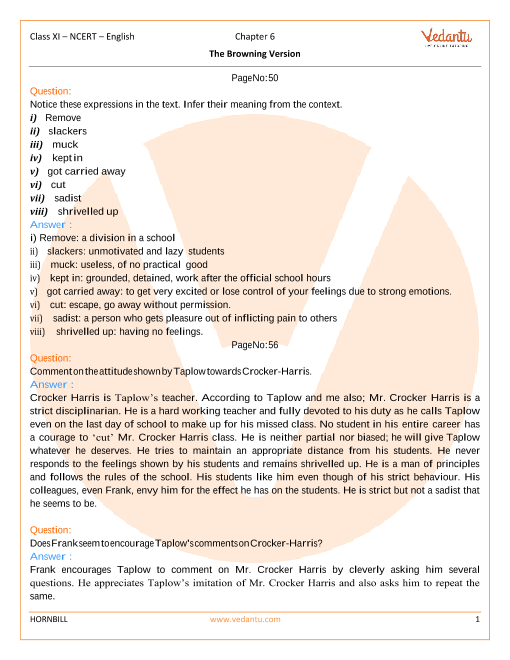 NCERT Solutions Class 11 English Hornbill Chapter-6 part-1