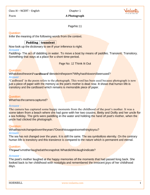 NCERT Solutions Class 11 English Hornbill Chapter-1 Poem part-1