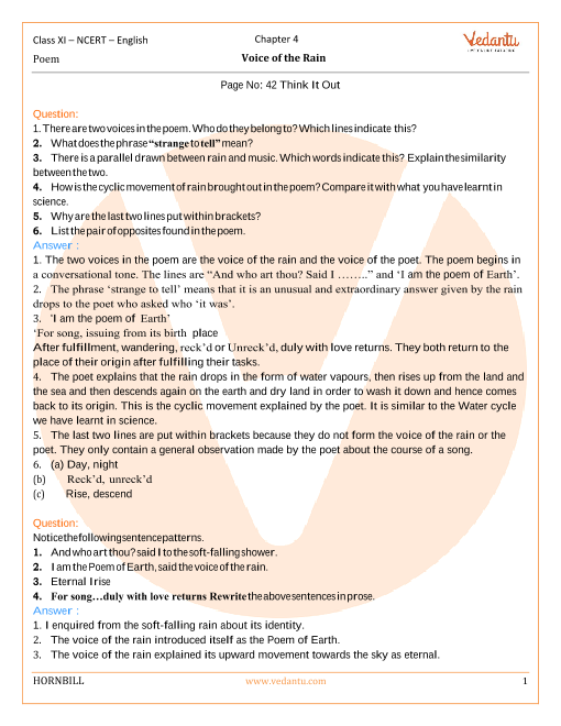 NCERT Solutions for Class 11 English Hornbill Chapter 4 Poem