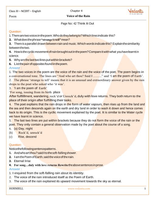 NCERT Solutions Class 11 English Hornbill Chapter-4 Poem part-1