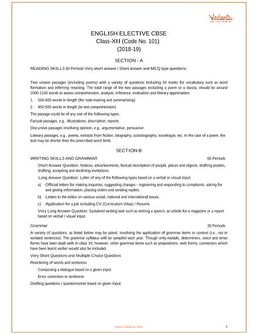CBSE Class XII English Elective Syllabus 2018-19 part-1