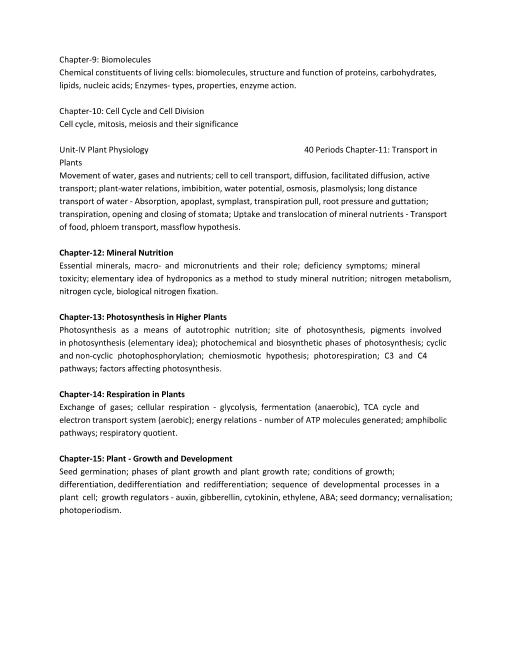 CBSE Syllabus for Class 11 Biology 2018-2019 Examination