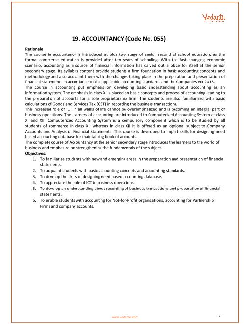 CBSE Syllabus for Class 11 Accountancy 2018-2019 Examination