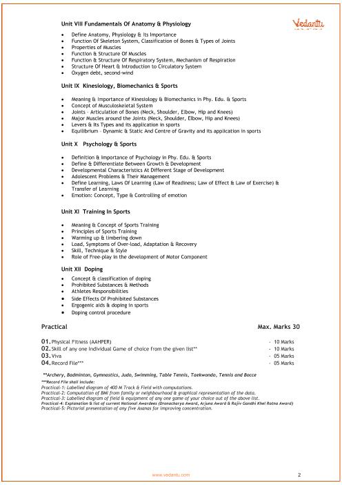 CBSE Syllabus for Class 11 Physical Education 2018-2019 Examination