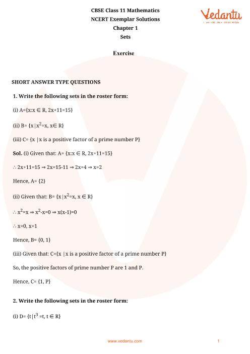 NCERT Exemplar for Class 11 Maths Chapter 1 - Sets (Book