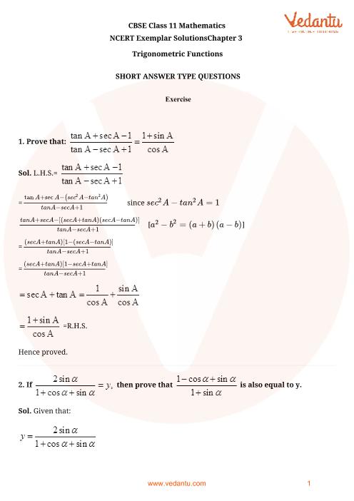 NCERT Exemplar for Class 11 Maths Chapter 3 - Trigonometric