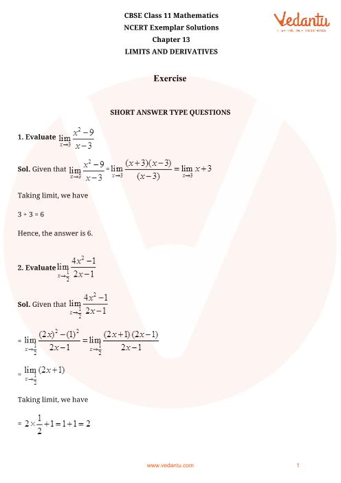 NCERT Exemplar for Class 11 Maths Chapter 13 - Limits and