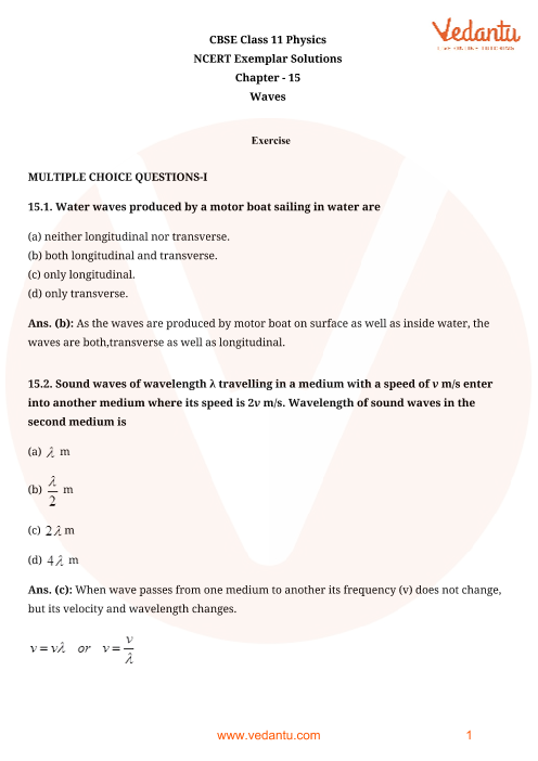 NCERT Exemplar for Class 11 Physics Chapter 15 - Waves (Book