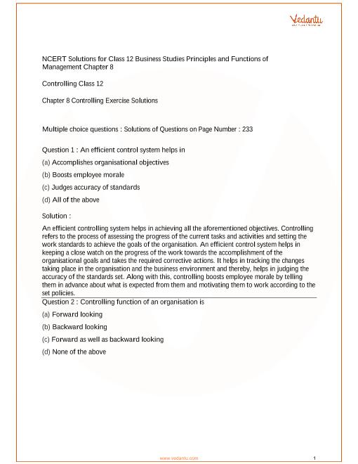 NCERT Solutions Class 12 Business Studies Chapter 8 part-1