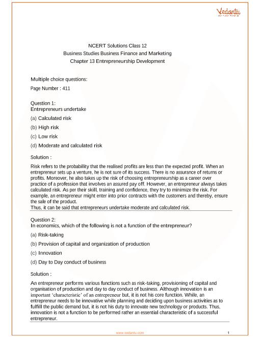 NCERT Solutions Class 12 Business Studies Chapter 13 part-1