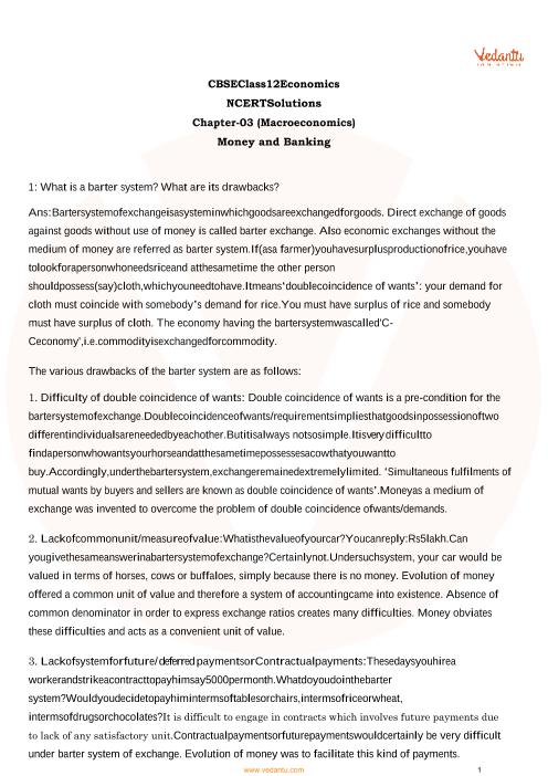 NCERT Solutions Class 12 Macro Economics Chapter 3 part-1