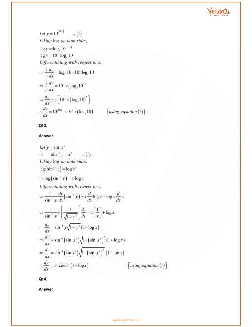 RD Sharma Class 12 Maths Solutions Chapter 11 - Differentiation