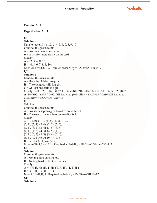 RD Sharma Class 12 Maths Solutions Chapter 31 - Probability