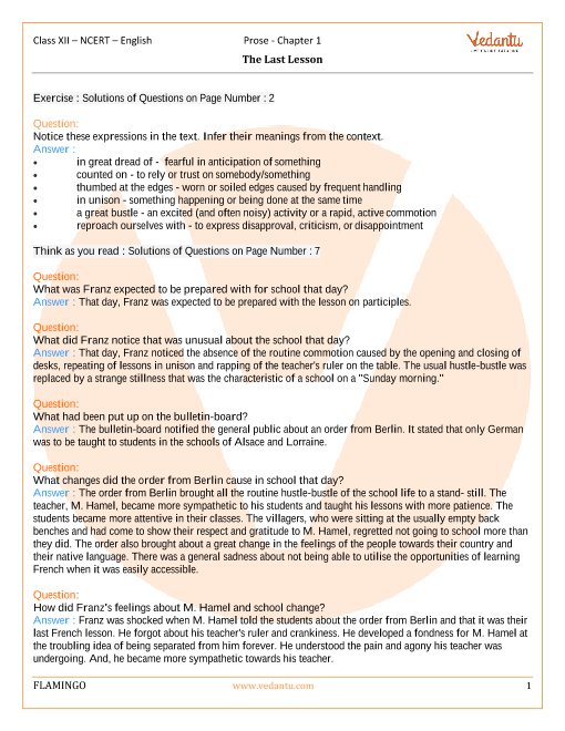 NCERT Solutions for Class 12 English Flamingo Chapter-1 part-1