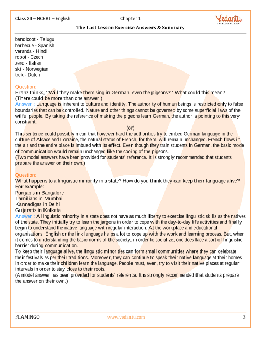 NCERT Solutions for Class 12 English Flamingo Chapter 1