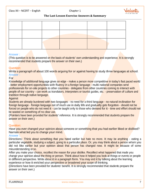 NCERT Solutions for Class 12 English Flamingo Chapter 1 - The Last