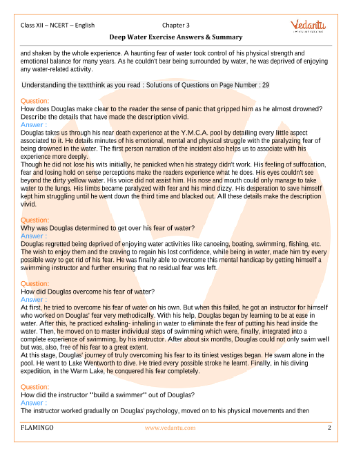 NCERT Solutions for Class 12 English Flamingo Chapter 3