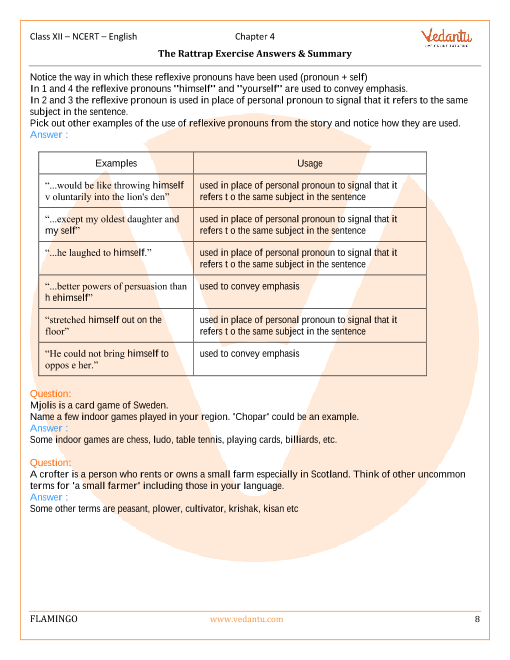NCERT Solutions for Class 12 English Flamingo Chapter 4