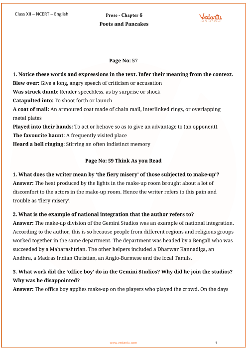NCERT Solutions for Class 12 English Flamingo Chapter 6
