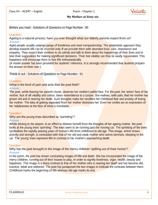 NCERT Solutions for Class 12 English Flamingo Chapter 1 - My Mother