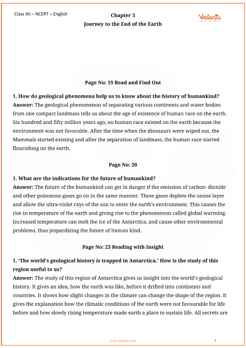 NCERT Solutions for Class 12 English Vistas Chapter 3