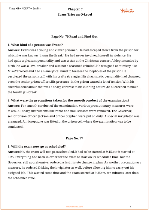 NCERT Solutions for Class 12 English Vistas Chapter-7 part-1