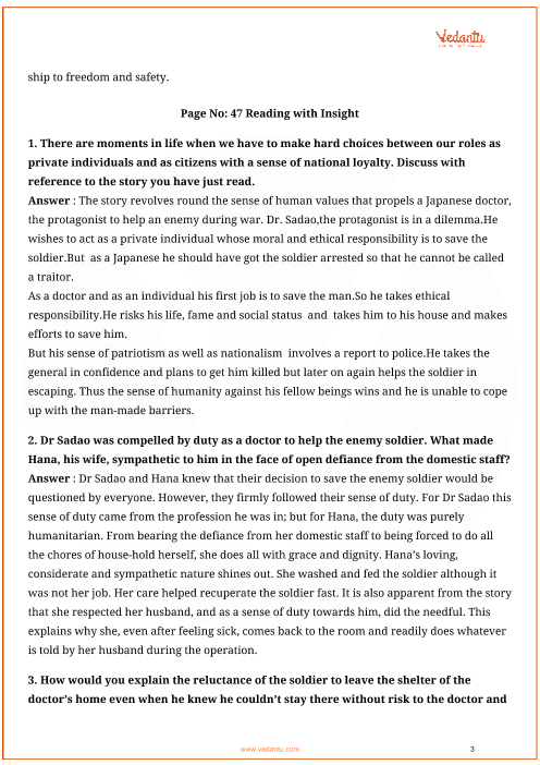 NCERT Solutions for Class 12 English Vistas Chapter 4 - The