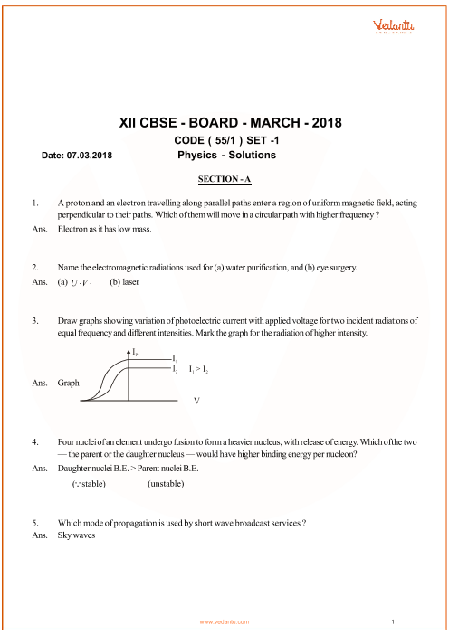 Previous Year Physics Question Paper for CBSE Class 12 - 2018