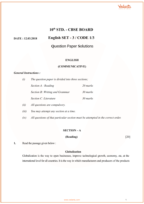 Previous Year English Communicative Question Paper for CBSE