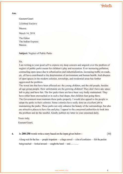 Previous Year English Communicative Question Paper for CBSE Class 10