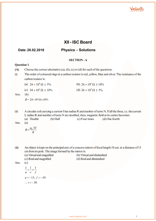Previous Year Physics Question Paper for ISC Class 12 Board - 2018